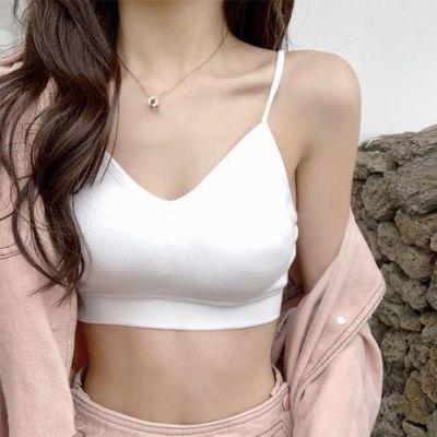 2019新款美背裹胸 法式三角杯内衣女 螺纹细肩吊带抹胸带胸垫外贸