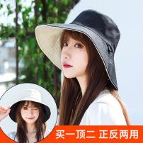 遮阳帽女夏季日系百搭防晒帽子遮脸防紫外线骑车空顶扎马尾太阳帽
