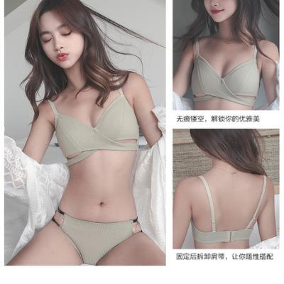 新款内衣女无钢圈超薄款小胸聚拢透气性感胸罩文胸套装