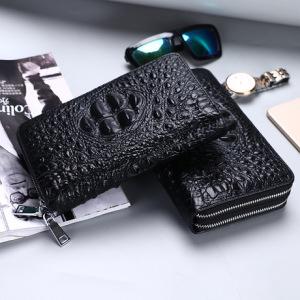 厂家直销鳄鱼纹男士手包大容量真牛皮手拿包商务双拉链多功能钱包