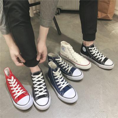 秋季新款经典情侣帆布鞋男女高帮基本款硫化鞋韩版学生布鞋6638