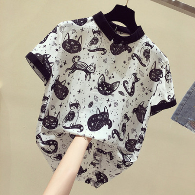 【多款混批】夏季短袖女2019新款宽松ins潮设计感上衣韩版雪纺衫