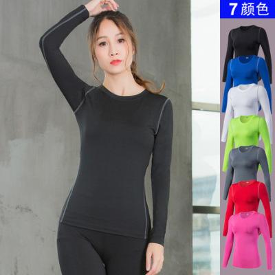 女子PRO 紧身训练长袖 运动健身瑜伽T恤 吸湿排汗长袖衫衣服2019