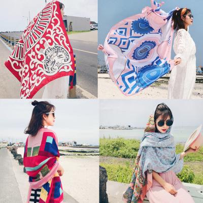 民族风印花秋冬新款流苏加长围巾女士旅游防晒丝巾两用大披肩围脖