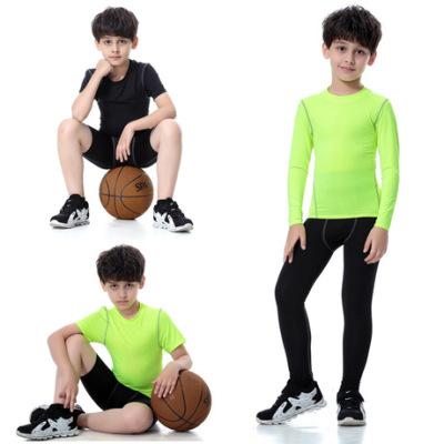 儿童装男女孩紧身PRO运动健身训练跑步长短袖衣 弹力速干短裤长裤