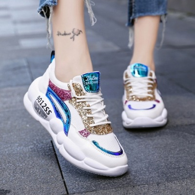 兜川女士运动鞋夏季2019新款亮片网面单鞋百搭休闲老爹鞋女鞋DC52