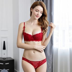 爆款薄款红色半杯文胸套装聚拢棉杯蕾丝内衣厂家批发一件代发1827