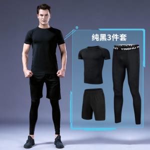 男士透气时尚健身套装短袖排汗舒适篮球服男夏季训练弹力速干衣
