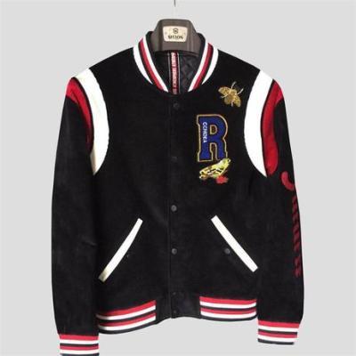 秋季新款男士灯芯绒夹克 韩版潮流重工刺绣短款棒球服领夹克外套
