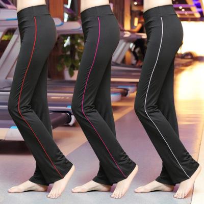 健身服女士 2019秋冬新款直筒修身吸汗透气显瘦锦纶瑜伽运动长裤