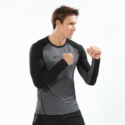 猎星2019秋冬新款圆领长袖速干弹力T恤运动健身跑步训练服90120