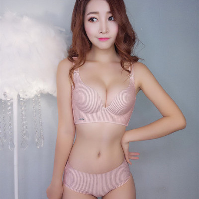 蜜桃之恋条纹无痕无钢圈聚拢调整文胸罩少女性感内衣套装厂家直销