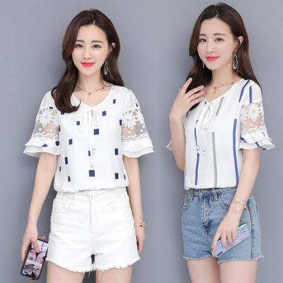 【多款可拼】2019新款韩版chic碎花女装修身雪纺衫荷叶边短袖小衫