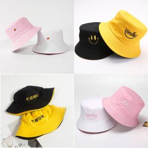 双面渔夫帽女士可爱韩版防晒遮阳帽刺绣文字盆帽情侣日系时尚帽子
