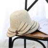 韩版时尚女士遮阳帽 夏季度假防晒太阳帽开叉大沿蝴蝶结草帽批发
