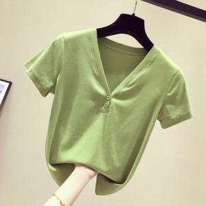 牛油果绿V领短袖女T恤上衣2019夏季新款ins修身体恤打底衫半袖潮
