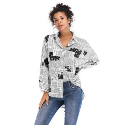 亚马逊爆款欧美2019女装英文字母印花报纸衬衫女百搭长袖衬衣上衣