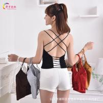 夏季新款修身纯棉少女露背交叉吊带背心性感美背裹胸防走光内衣女