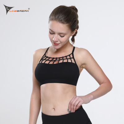 时尚网格美背运动内衣 聚拢防震迷彩跑步健身瑜伽运动文胸女
