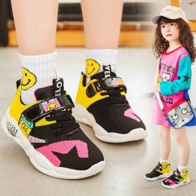 跨境专供儿童飞织运动鞋2019秋季新款女童中大童休闲跑步男童童鞋