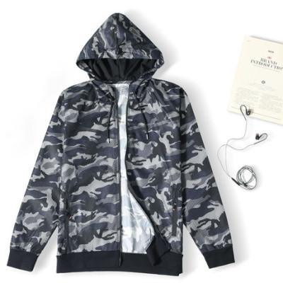 运动休闲迷彩外套秋季薄外套带帽健身外套长拉链开衫10860
