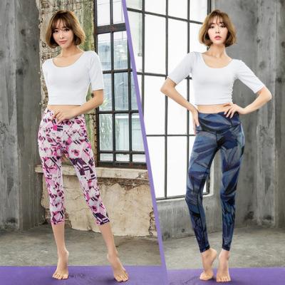 新款欧美数码印花瑜伽服套装女高腰速干运动套装 舞蹈运动健身服