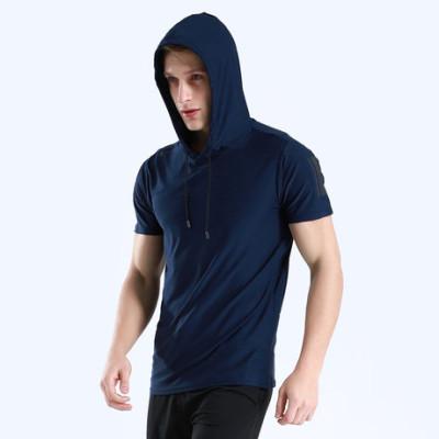 猎星连帽短袖速干透气健身服T恤男跑步训练运动休闲批发现货M001