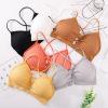 新款螺纹裹胸交叉吊带美背镂空抹胸带胸垫背心无钢圈打底运动文胸