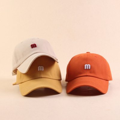 韩版m字母棒球帽女夏天户外防晒遮阳帽青年学生鸭舌帽太阳帽子男