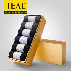 TEAL七天抗菌防臭袜商务男士 中筒纯色棉袜子厂家批发 贴牌加工