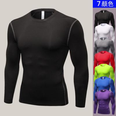 男子紧身训练PRO 运动健身跑步长袖 排汗速干衣长袖衫T恤衣服1019