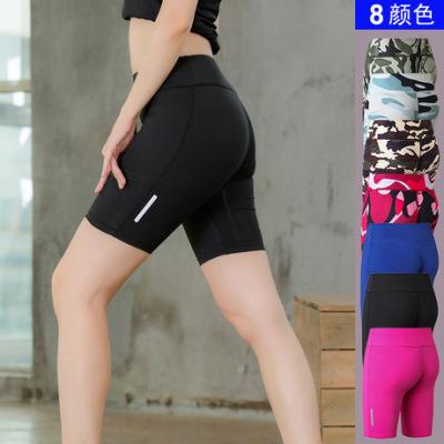 女士健身瑜伽短裤 反光条夜跑运动跑步 速卖通速干紧身五分裤2045