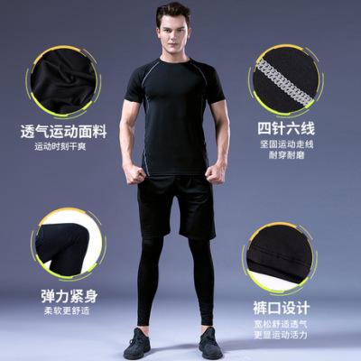 厂家直销2018夏季新款健身服男创意爆款健身房套装男足球服