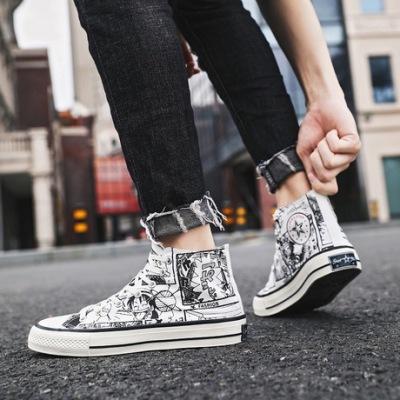 兜川新款休闲板鞋2019秋季港风海贼王涂鸦低高帮帆布鞋男潮鞋6919
