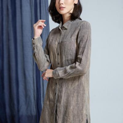 原创设计女装秋季做旧亚麻长袖衬衫女设计感小众复古衬衣W2133