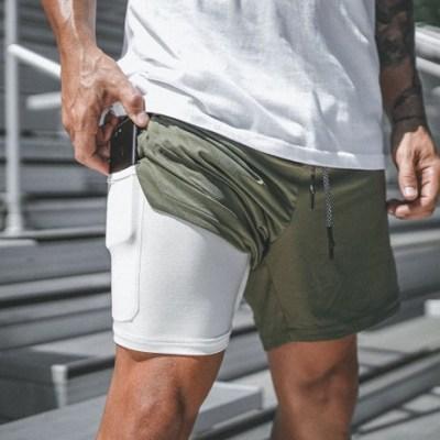 肌肉健身兄弟新款男士运动短裤网眼双层速干休闲五分裤运动健身裤