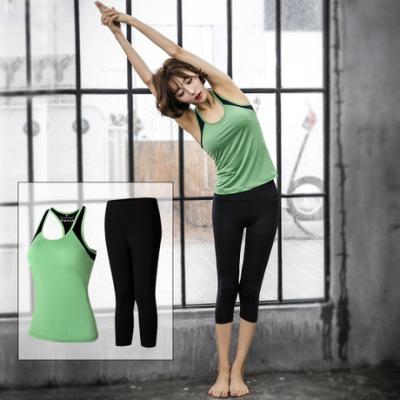 慕兰欧瑜伽健身服跑步运动套装女夏锦纶速干背心弹力七分裤瑜伽服