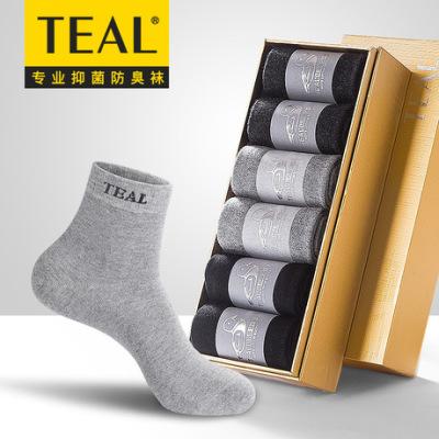 TEAL新款防臭男士袜子 中筒抗菌休闲四季款棉袜透气吸汗厂家批发