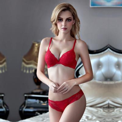 厂家批发蕾丝性感深V小胸聚拢文胸套装9118红色女士内衣胸罩W1716