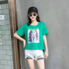 2019夏季新款女装圆领套头人像印花短袖t恤女韩版时尚上衣女批发