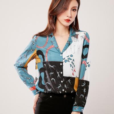 2019秋季新款衬衫 女长袖时尚设计感通勤撞色印花衬衫女