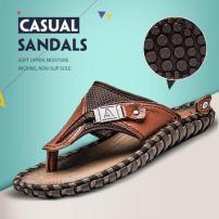 爆款沙滩鞋男men sandals新款人字拖男牛皮大码男鞋夏季凉拖鞋男