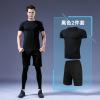 运动紧身衣男士健身服户外健身运动服短袖弹力衣黑色2件套批发