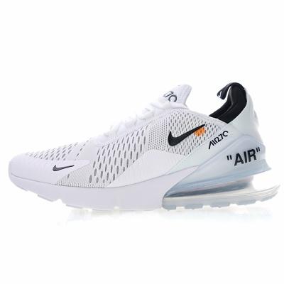 "Off white x Nike Air Max 270系列后跟半掌气垫慢跑鞋 ""OW白黑冰蓝"