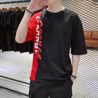 夏季宽松五分袖t恤男短袖韩版潮流港风学生7七分袖体桖中袖上衣服