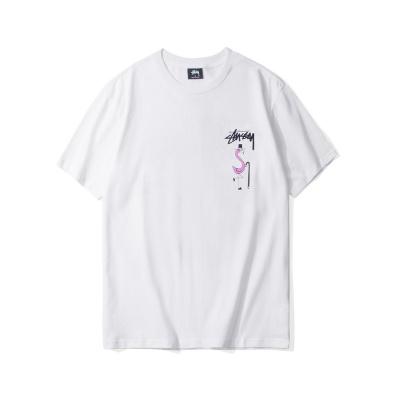 stussy斯图西潮牌正品 夏季新款火烈鸟经典印花男女情侣款短袖T恤