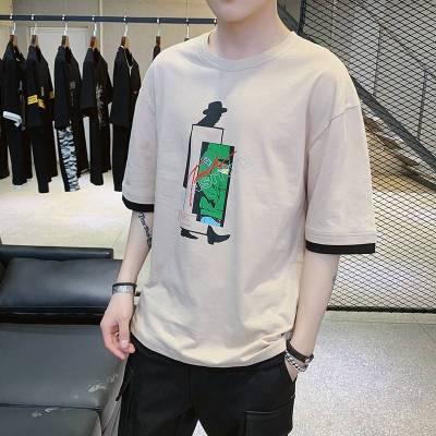 2019春夏季新款韩版潮流t恤男短袖打底衫圆领半袖体恤休闲男上衣