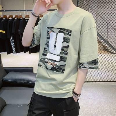 纯棉短袖T恤男圆领宽松男士纯棉体恤潮牌打底衫男装休闲半袖夏季