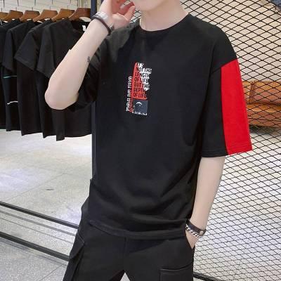 2019新款夏季印花男士短袖t恤打底衫男装圆领体恤潮流半袖上衣服