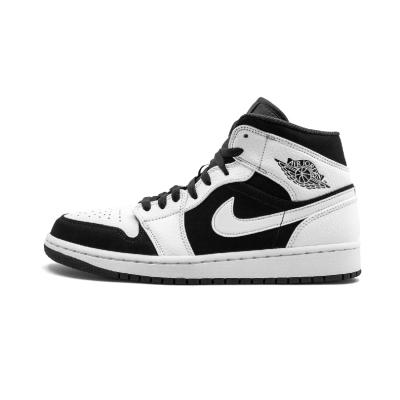 Air Jordan 1 Mid AJ1 乔1 黑白熊猫 男子中帮篮球鞋- 554724 113